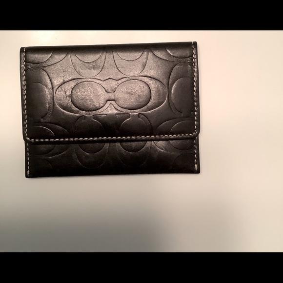 vintage Coach logo black business card holder